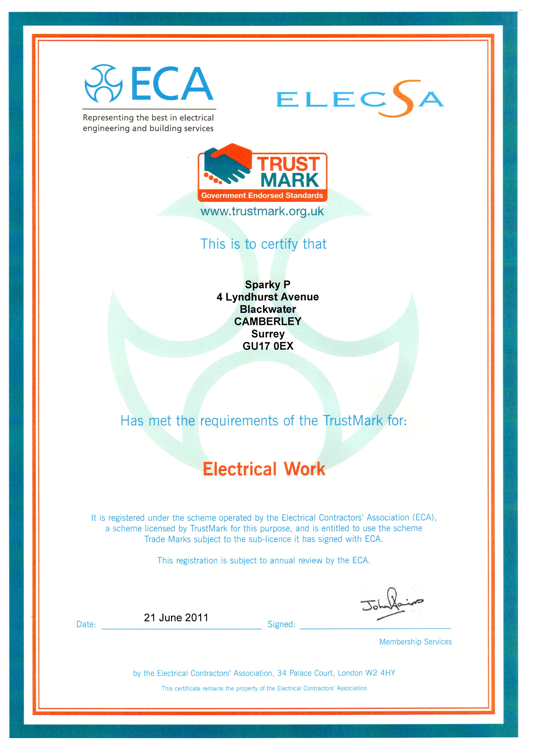 Sparky p electrician qualifications camberley contact details sparky p domestic electrician camberley give us a call 07539 545841 or emailtimsparkyp xflitez Image collections